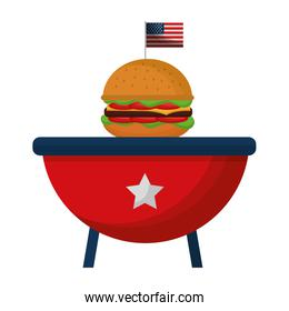 barbeque grill with USA flag and hamburger