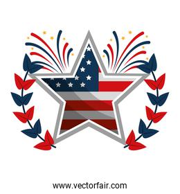 star with wreath USA and fireworks emblem
