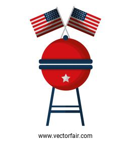 barbeque grill with USA flags isolated icon