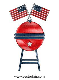bbq grill and american flags celebration