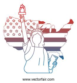 liberty statue with USA map