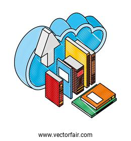 cloud storage learning books and arrow upload isometric