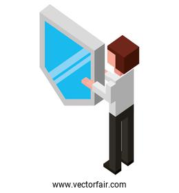 businessman lifting shield isometric avatar character