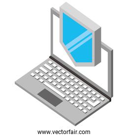 laptop computer with shield isometric icon