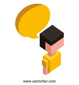 man with speech bubble isometric avatar character
