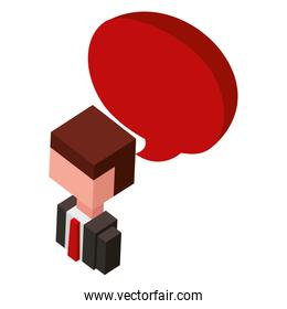 businessman with speech bubble isometric avatar character