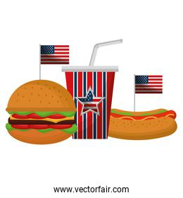 delicious fast food with USA flag