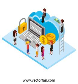 business people with laptop isometric avatars characters