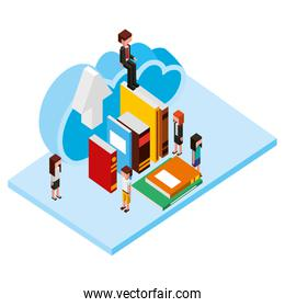 business people with books isometric avatars characters