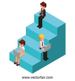 business people in the stair isometric avatars characters