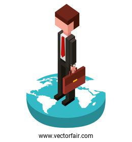 businessman in the world isometric avatar character