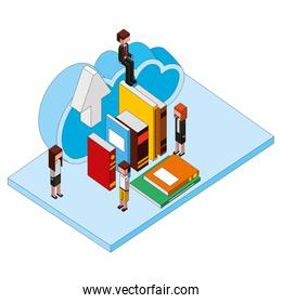 teacher and students cloud storage and books isometric