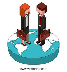 businessman and businesswoman holding briefcase on world isometric