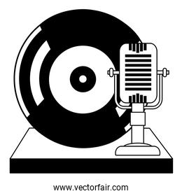 vintage microphone and vinyl record music classic