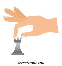 hand with chess piece tower isolated icon