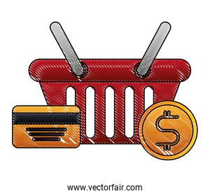 shopping basket with credit card and money coins isolated icon