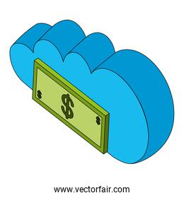 cloud computing with bill dollars isolated icon