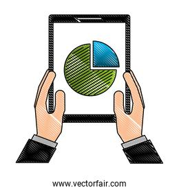 hands holding mobile with financial pie chart