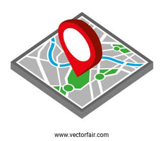 map guide with pin location isometric icon