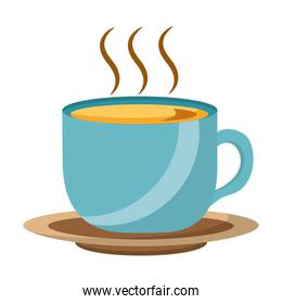 coffee cup hot fresh aroma on saucer