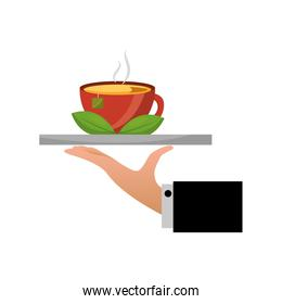 hand tray tea cup hot with leaves bag