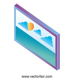 monitor with landscape isometric icon