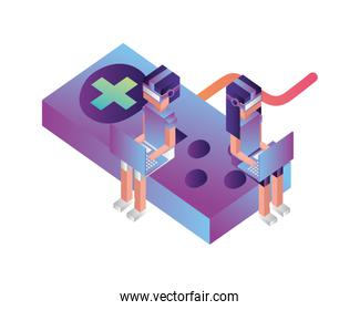 game control with people and laptop computer isometric icon