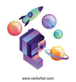 futuristic man with planets and rocket isometric avatar