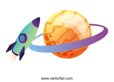 rocket flying with saturn planet isometric