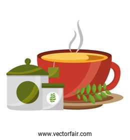 delicious herbs tea set icons