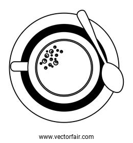 top view coffee cup on dish with spoon