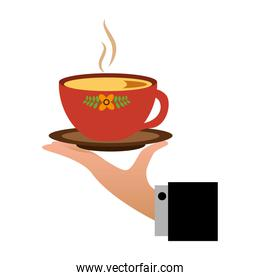 hand holding hot tea cup decoration flowers