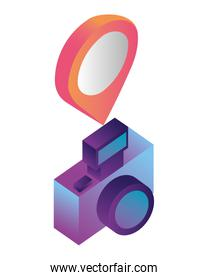 photographic camera with point location isometric icon