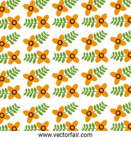 cute flowers with leaves decorative pattern