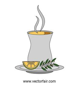 delicious lemon tea cup with slice lemon isolated icon