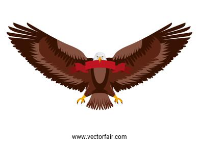 american eagle spread wings with ribbon in the talons