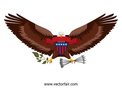 american eagle with ribbon shield branch and arrows