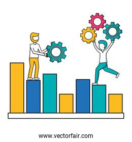 people on statistic business diagram with gears teamwork