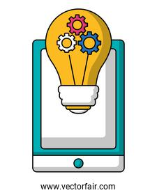 smartphone with bulb idea with gears teamwork