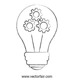 bulb idea creativity with gears inside teamwork