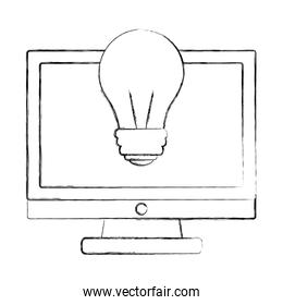 monitor computer bulb idea technology