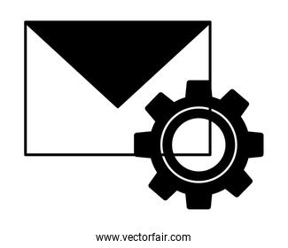 envelope mail with gear isolated icon