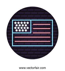 flag of united state of america is a neon sign on brick wall