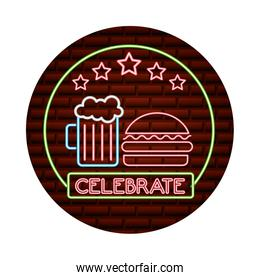 neon glowing celebrate burger and beer on brick wall