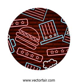 neon glowing top hat burger and beer pattern on brick wall