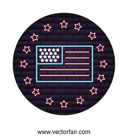 flag of united states of america is a neon stars frame on brick wall