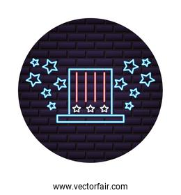 top hat stars accessory in neon style on brick wall
