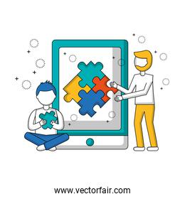 tablet with men and puzzle pieces isolated icon