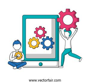 tablet device with men and gears machine isolated icon