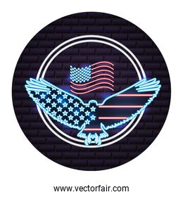 american flag in eagle emblem neon on wall